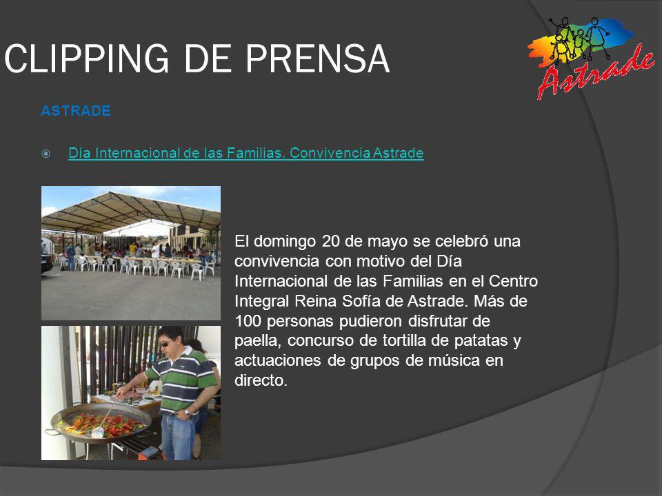 CLIPPING DE PRENSA ASTRADE. Día Internacional de las Familias. Convivencia Astrade.