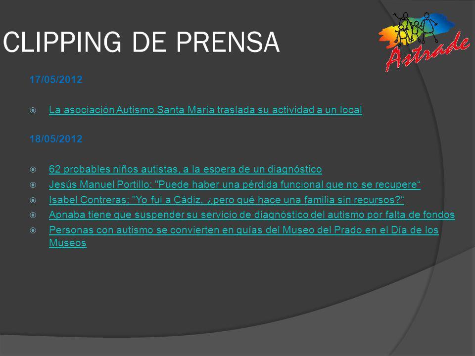 CLIPPING DE PRENSA 17/05/2012. La asociación Autismo Santa María traslada su actividad a un local.