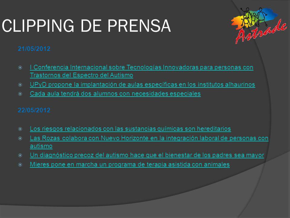 CLIPPING DE PRENSA 21/05/2012. I Conferencia Internacional sobre Tecnologías Innovadoras para personas con Trastornos del Espectro del Autismo.