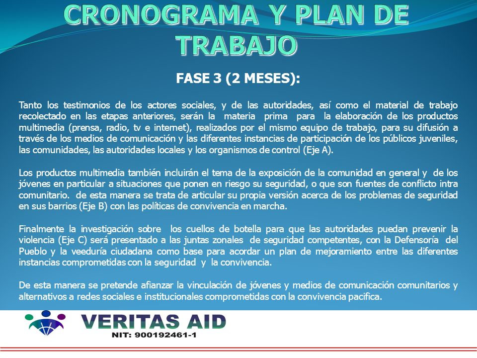CRONOGRAMA Y PLAN DE TRABAJO