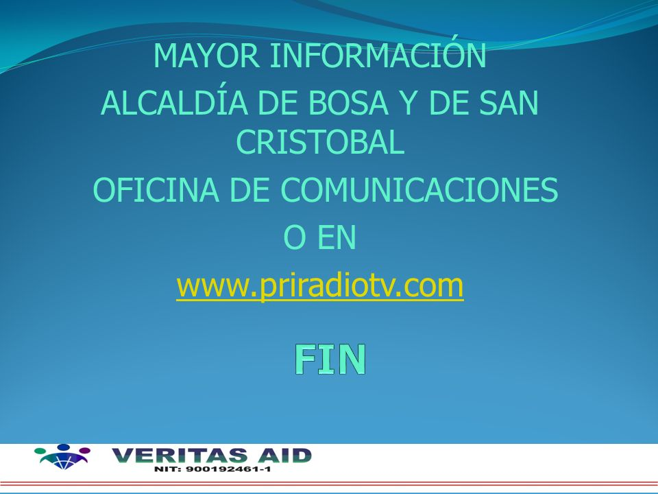 FIN MAYOR INFORMACIÓN ALCALDÍA DE BOSA Y DE SAN CRISTOBAL