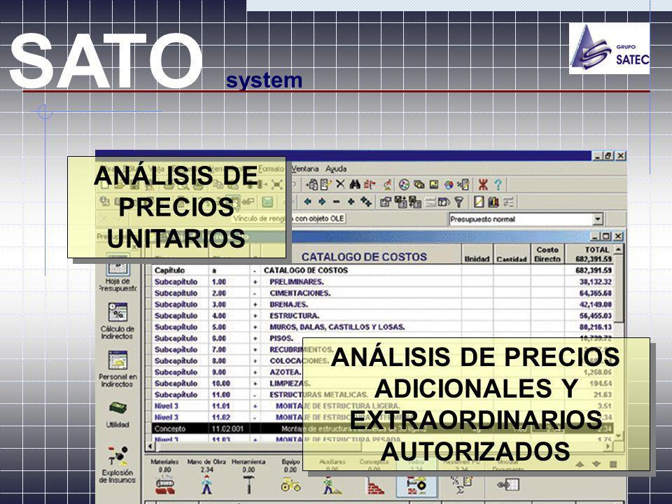 SATO system ANÁLISIS DE PRECIOS UNITARIOS