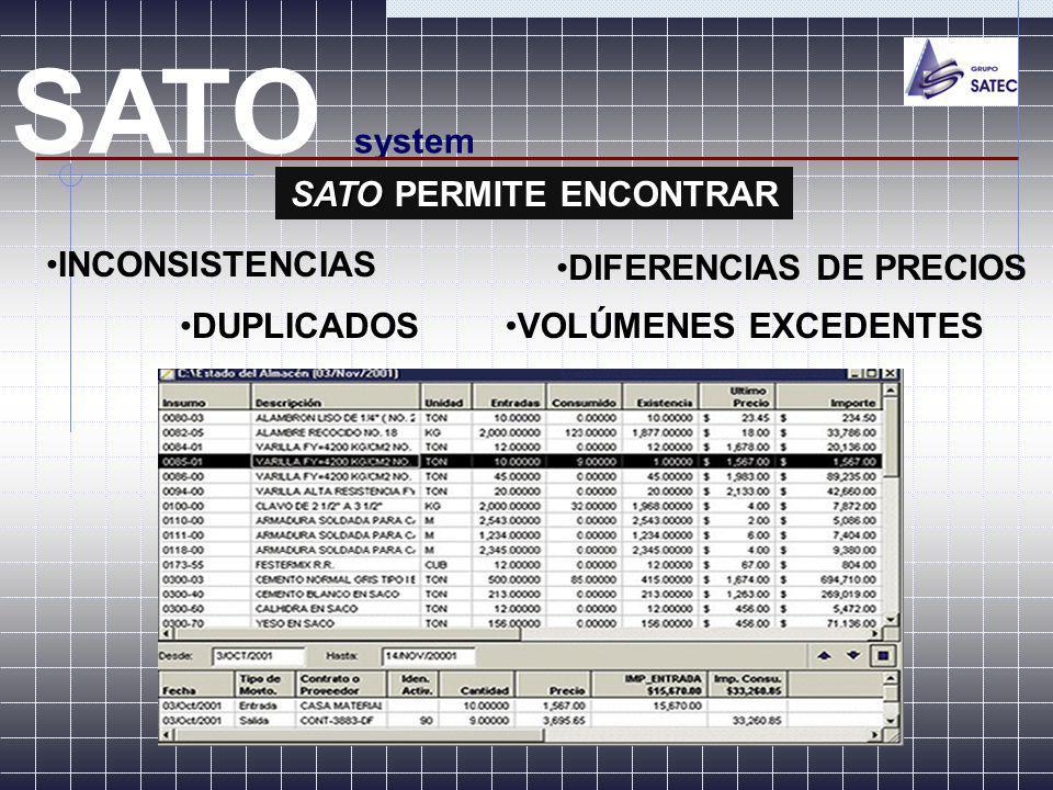 SATO PERMITE ENCONTRAR DIFERENCIAS DE PRECIOS