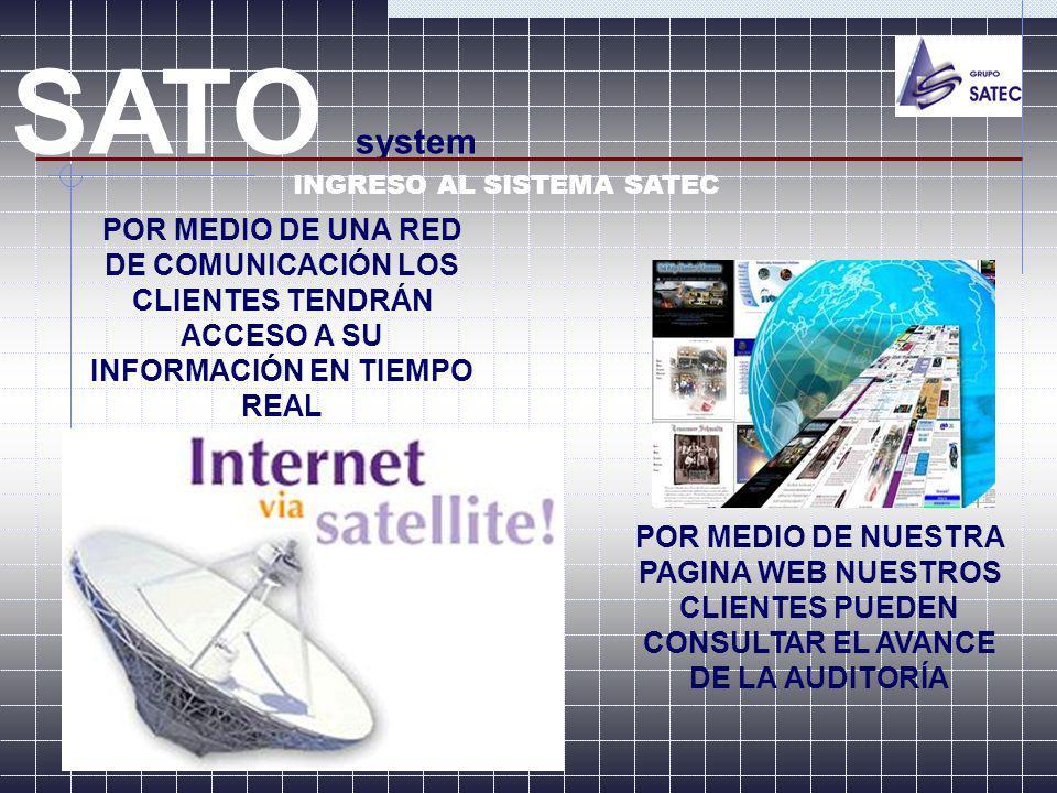 SATO system INGRESO AL SISTEMA SATEC. POR MEDIO DE UNA RED DE COMUNICACIÓN LOS CLIENTES TENDRÁN ACCESO A SU INFORMACIÓN EN TIEMPO REAL.