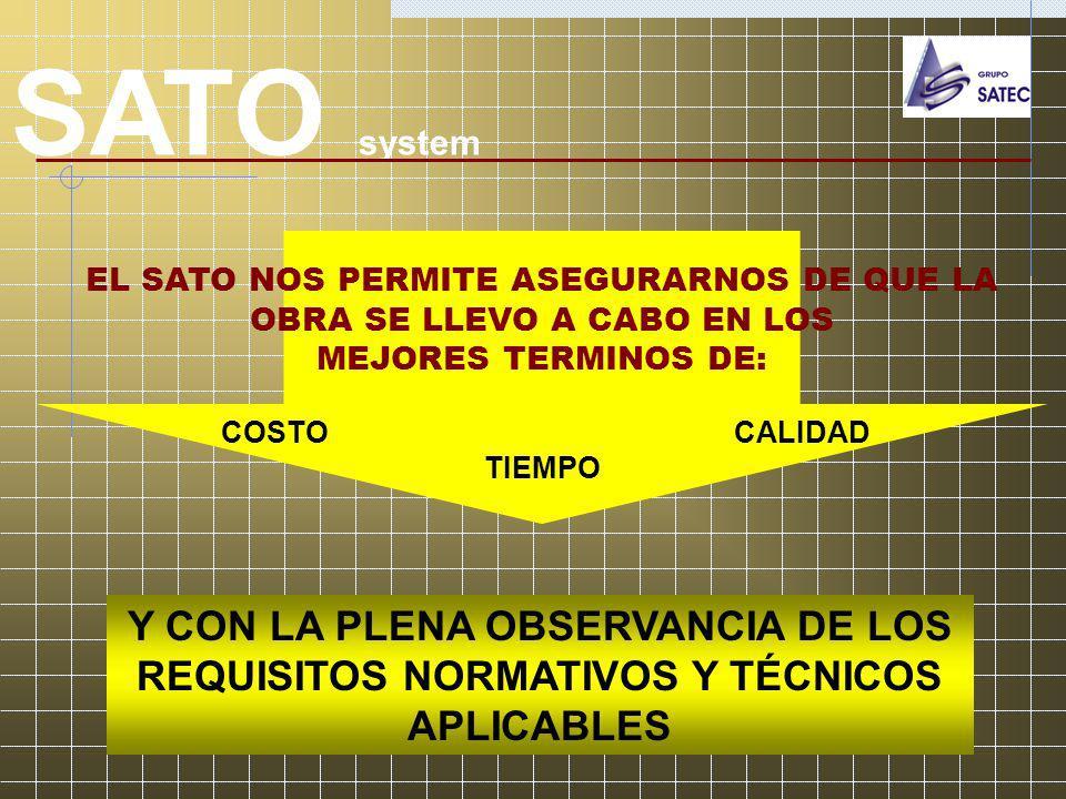 SATO system EL SATO NOS PERMITE ASEGURARNOS DE QUE LA OBRA SE LLEVO A CABO EN LOS MEJORES TERMINOS DE: