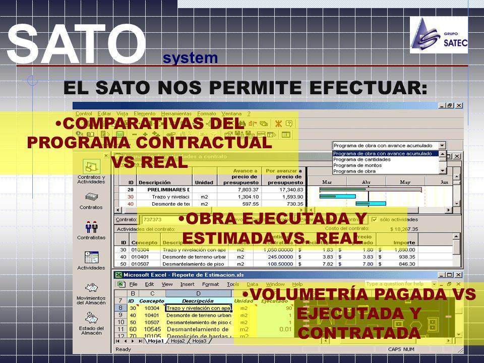 SATO system EL SATO NOS PERMITE EFECTUAR: