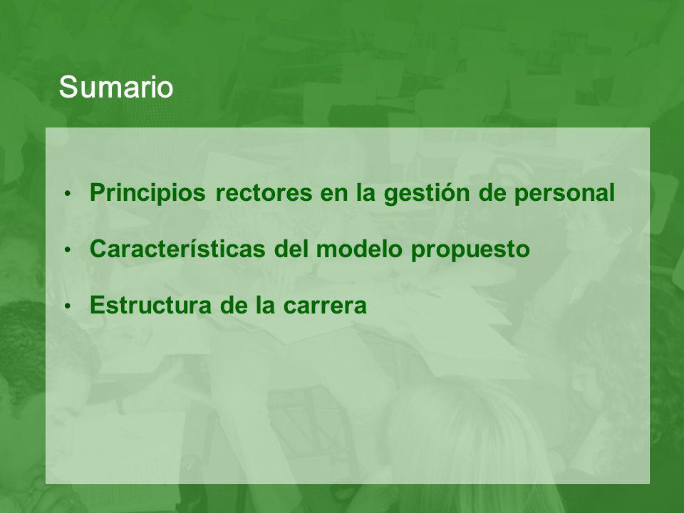Sumario Principios rectores en la gestión de personal