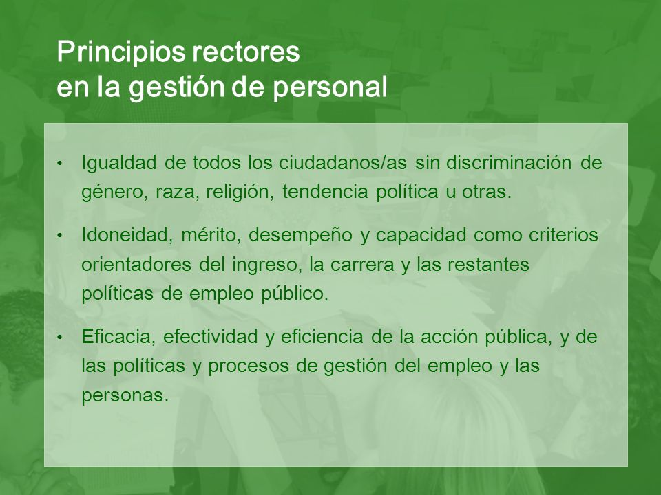 Principios rectores en la gestión de personal