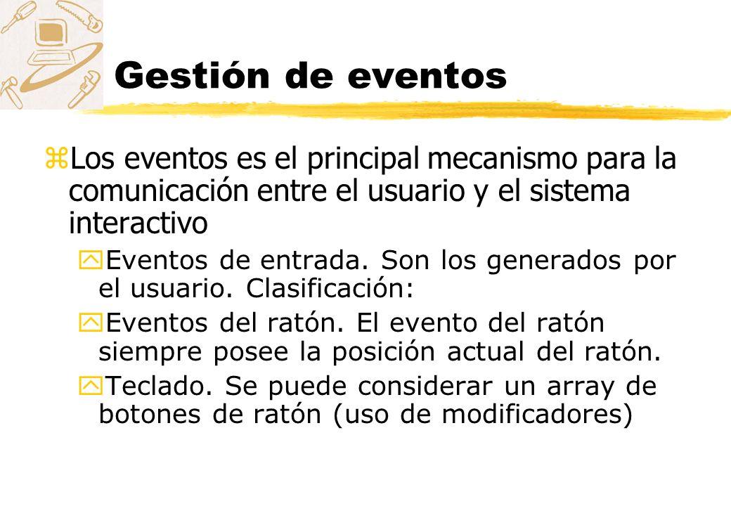 Gestión de eventos Los eventos es el principal mecanismo para la comunicación entre el usuario y el sistema interactivo.