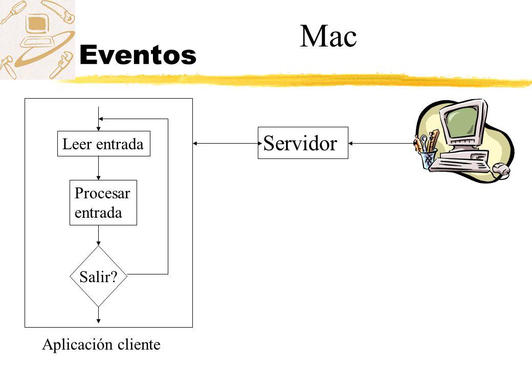 Mac Eventos Servidor Leer entrada Procesar entrada Salir