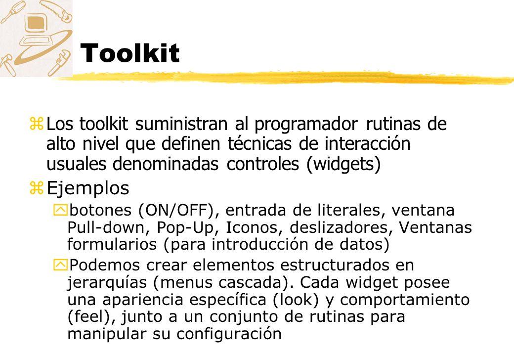 Toolkit Los toolkit suministran al programador rutinas de alto nivel que definen técnicas de interacción usuales denominadas controles (widgets)