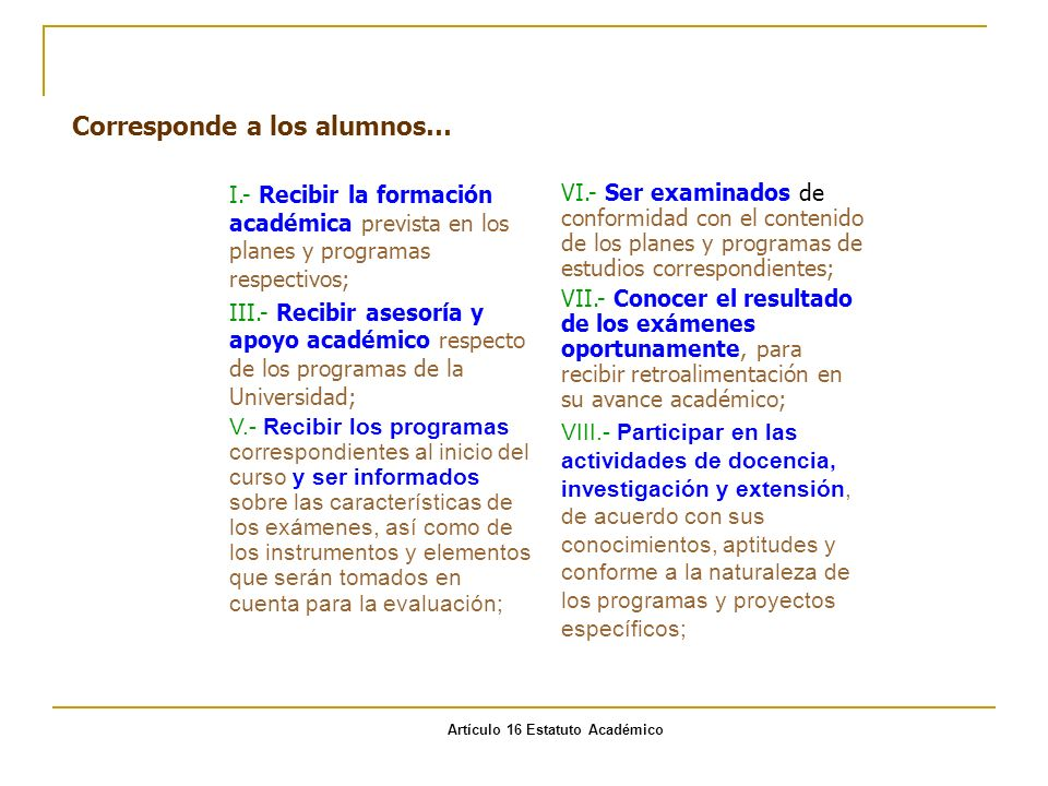 Artículo 16 Estatuto Académico