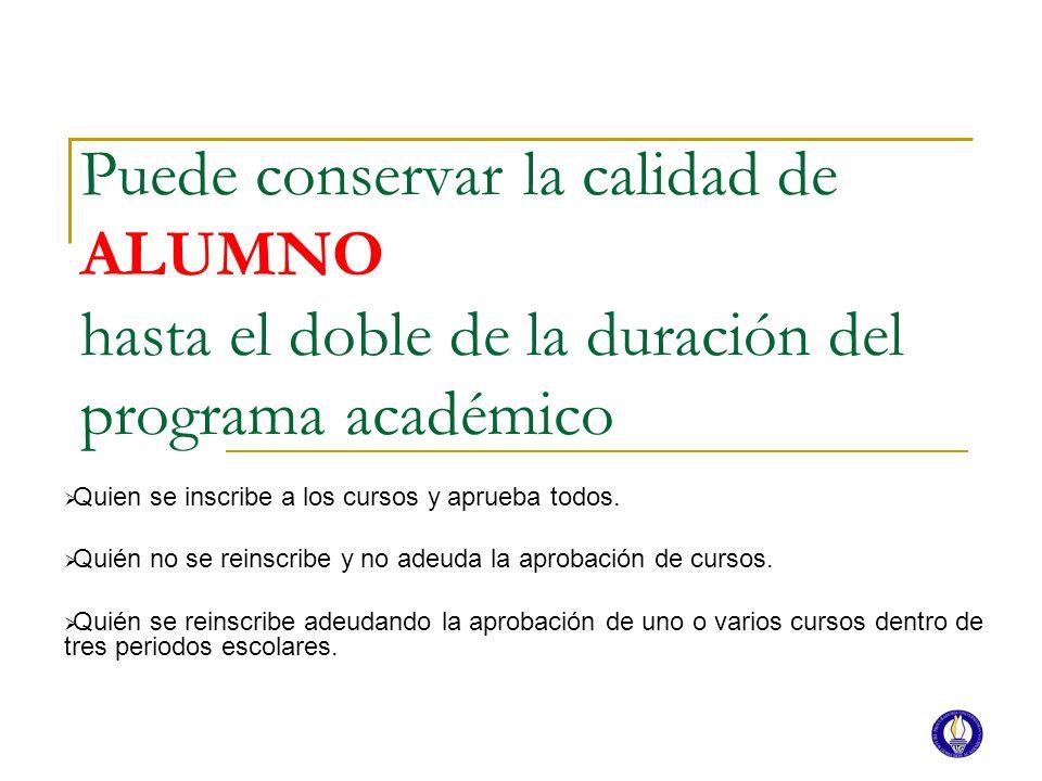 Puede conservar la calidad de ALUMNO hasta el doble de la duración del programa académico