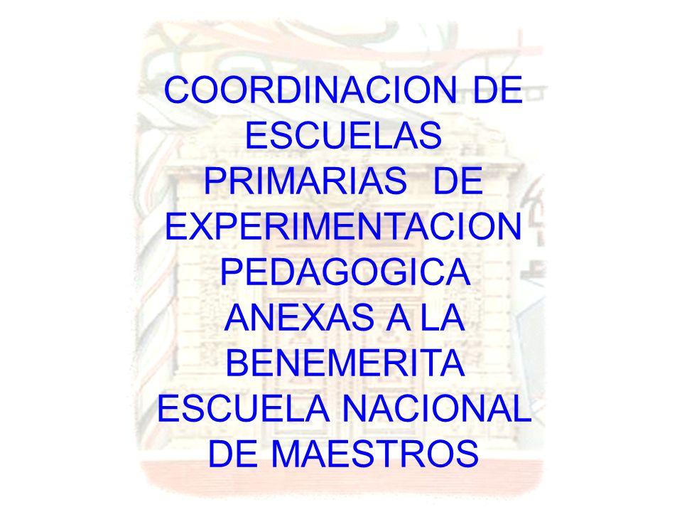 COORDINACION DE ESCUELAS PRIMARIAS DE EXPERIMENTACION PEDAGOGICA ANEXAS A LA BENEMERITA ESCUELA NACIONAL DE MAESTROS