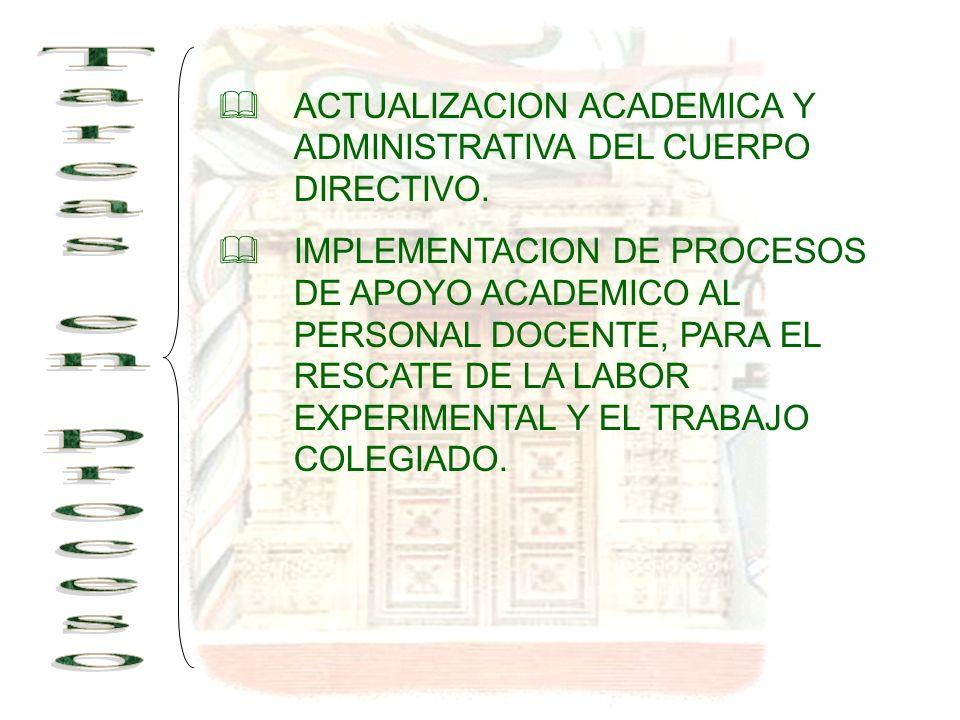 ACTUALIZACION ACADEMICA Y ADMINISTRATIVA DEL CUERPO DIRECTIVO.