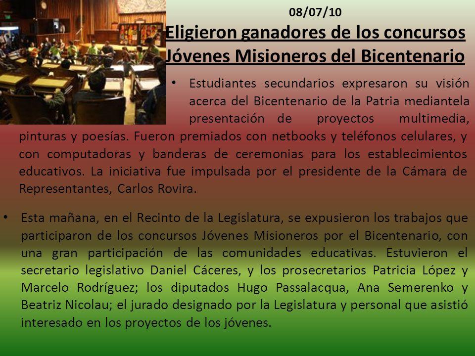 08/07/10 Eligieron ganadores de los concursos Jóvenes Misioneros del Bicentenario.