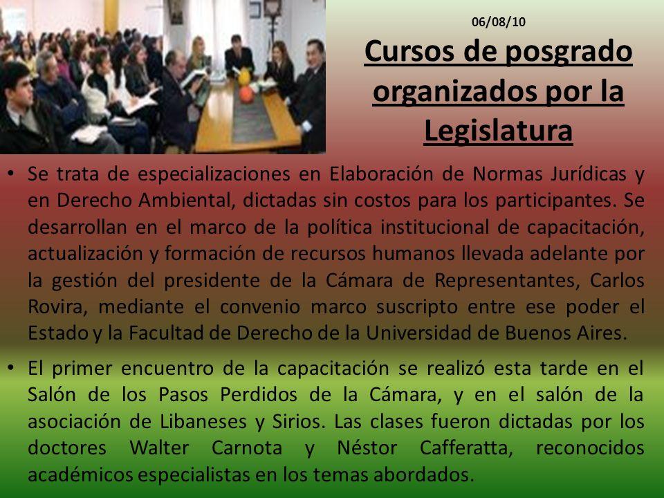 Cursos de posgrado organizados por la Legislatura