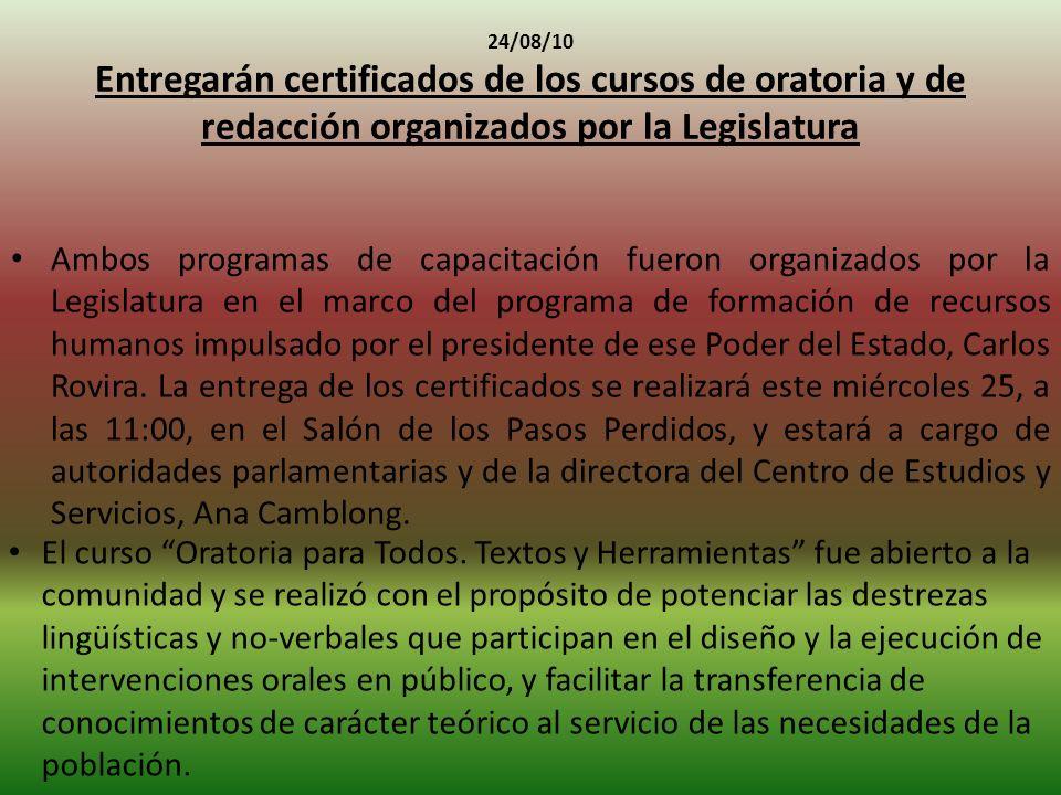 24/08/10 Entregarán certificados de los cursos de oratoria y de redacción organizados por la Legislatura
