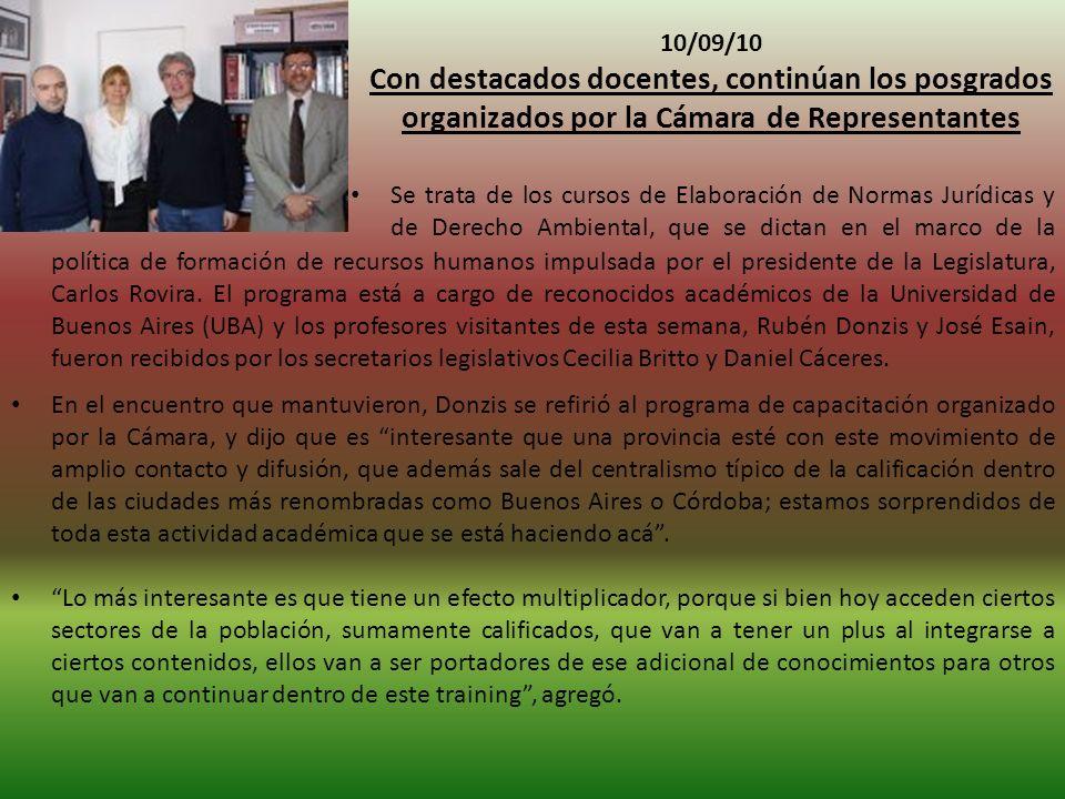 10/09/10 Con destacados docentes, continúan los posgrados organizados por la Cámara de Representantes.