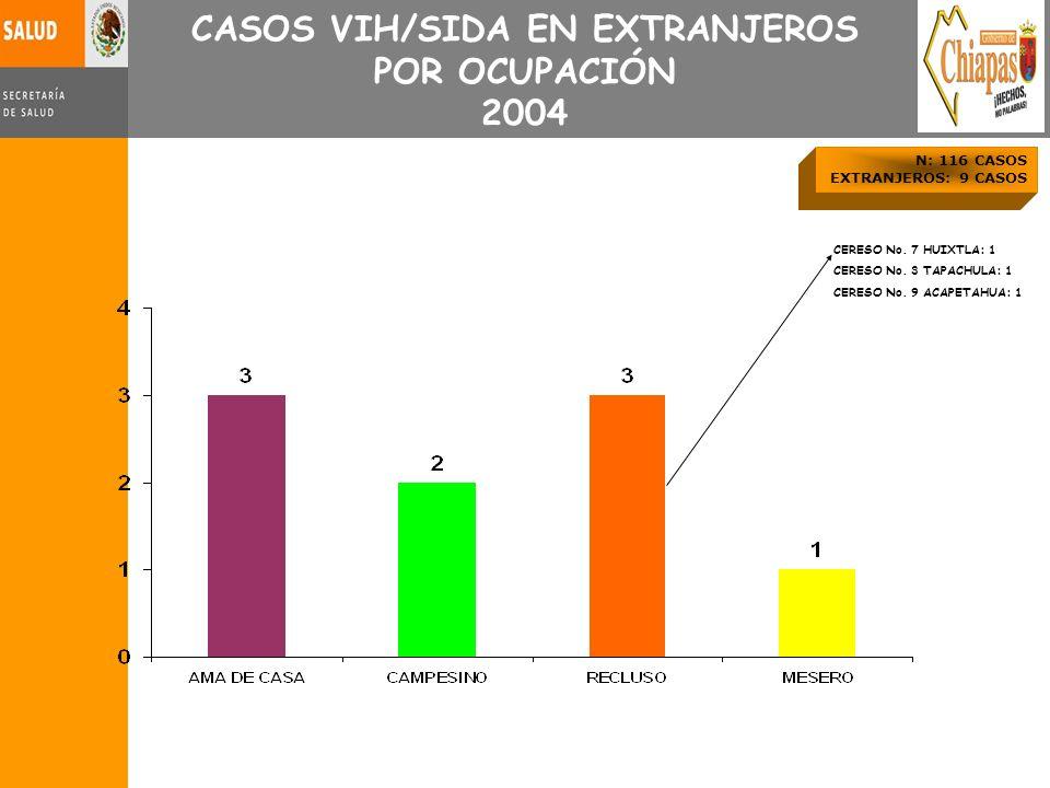 CASOS VIH/SIDA EN EXTRANJEROS POR OCUPACIÓN 2004