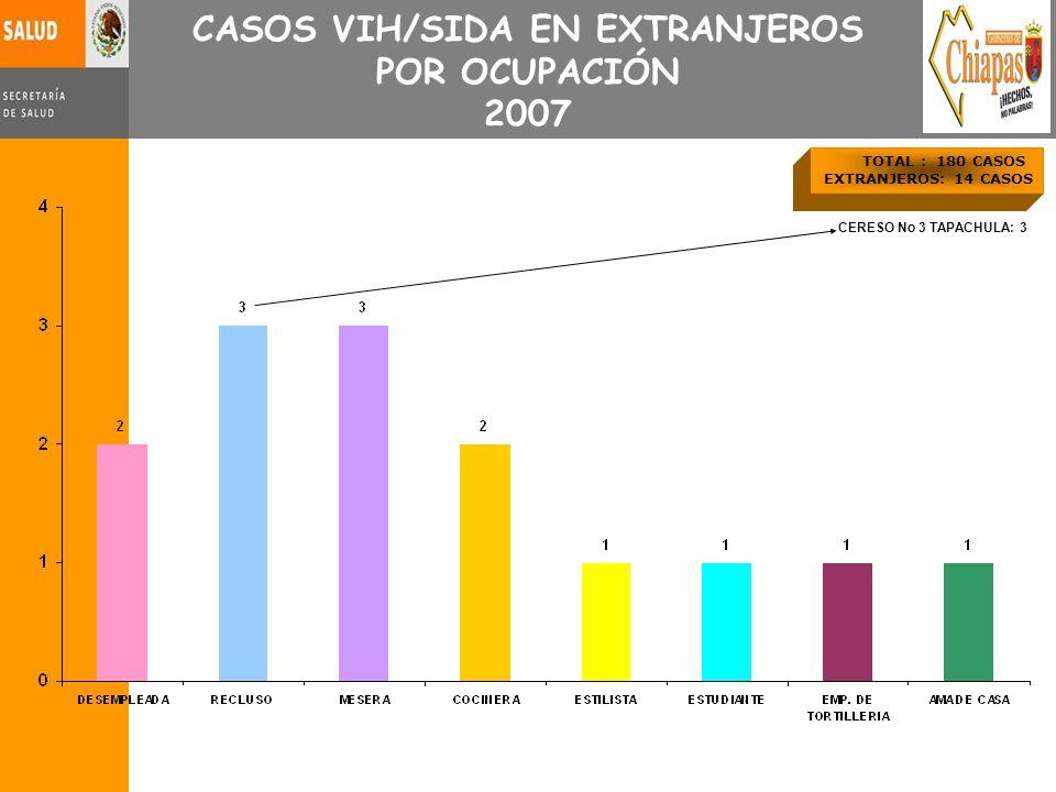 CASOS VIH/SIDA EN EXTRANJEROS POR OCUPACIÓN 2007