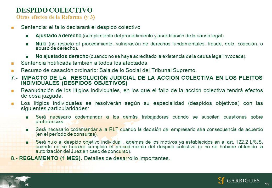 DESPIDO COLECTIVO Otros efectos de la Reforma (y 3)