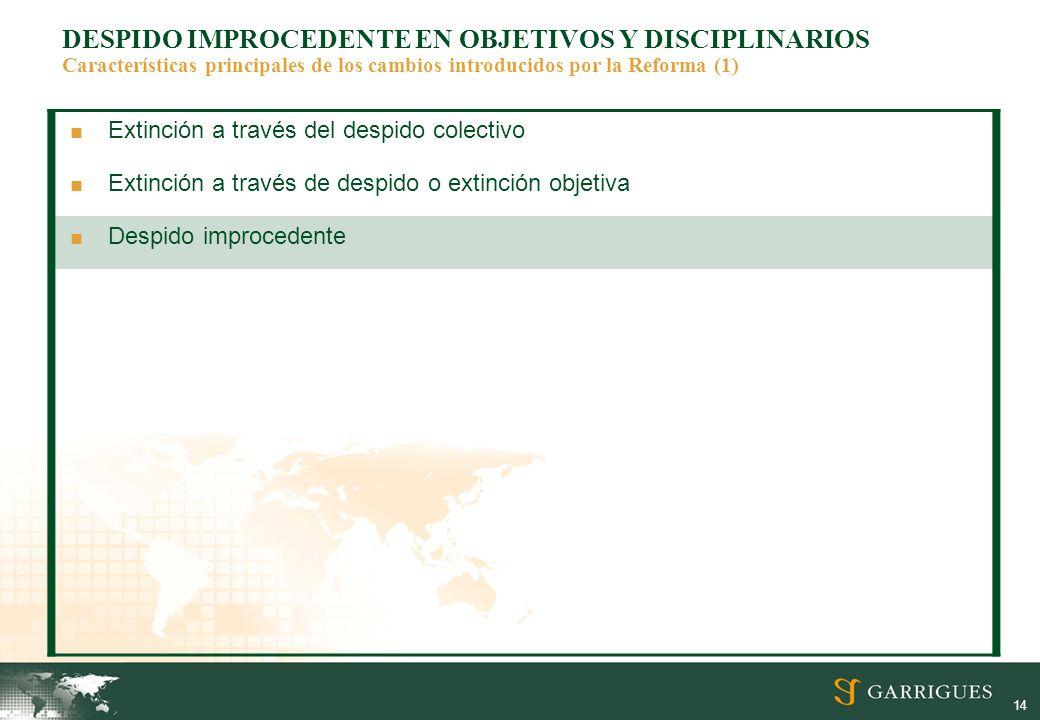 DESPIDO IMPROCEDENTE EN OBJETIVOS Y DISCIPLINARIOS Características principales de los cambios introducidos por la Reforma (1)