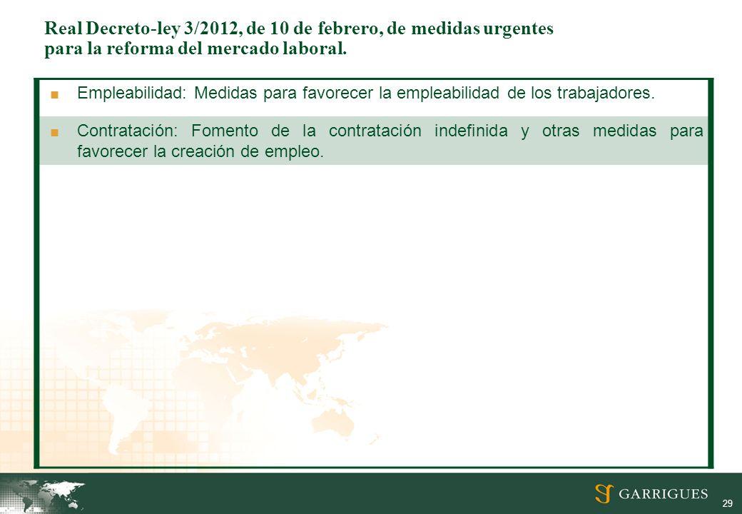 Real Decreto-ley 3/2012, de 10 de febrero, de medidas urgentes para la reforma del mercado laboral.
