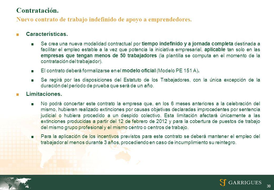 Contratación. Nuevo contrato de trabajo indefinido de apoyo a emprendedores.