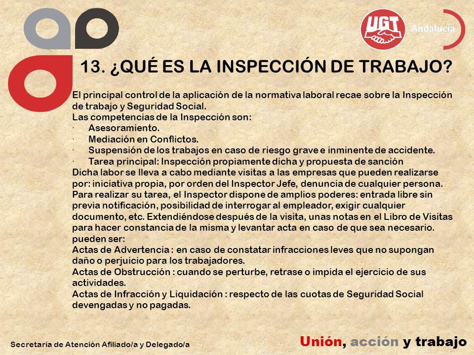 13. ¿QUÉ ES LA INSPECCIÓN DE TRABAJO
