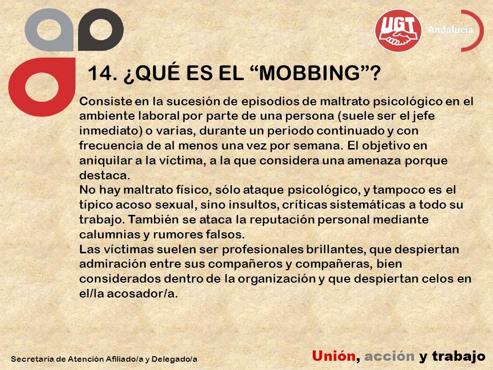 14. ¿QUÉ ES EL MOBBING Unión, acción y trabajo