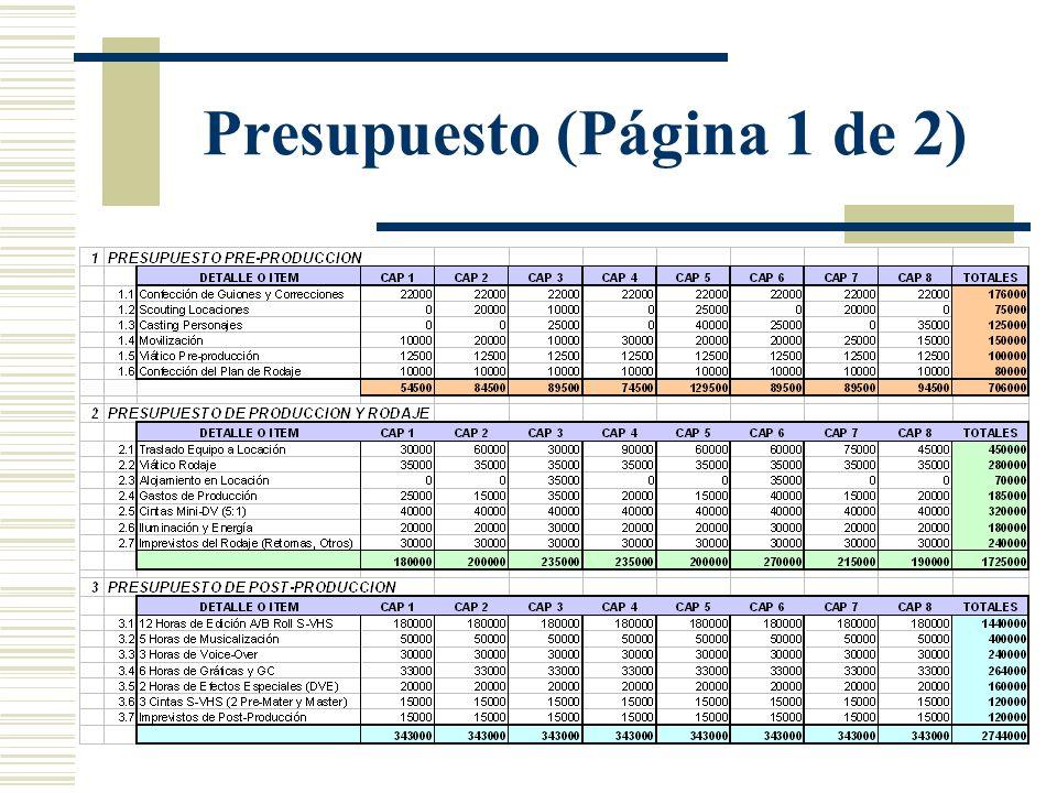 Presupuesto (Página 1 de 2)