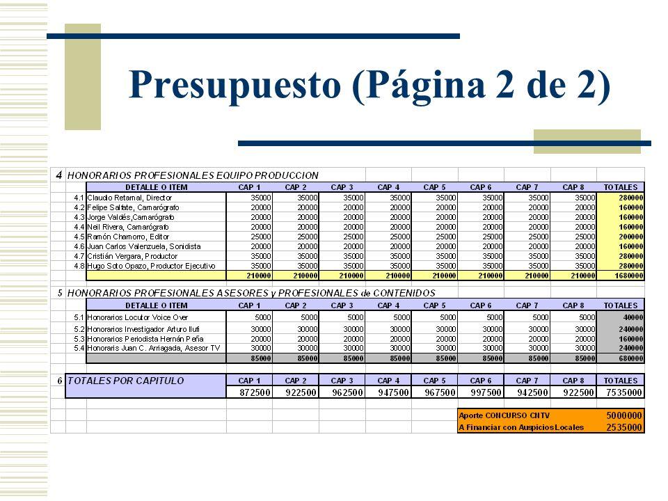 Presupuesto (Página 2 de 2)