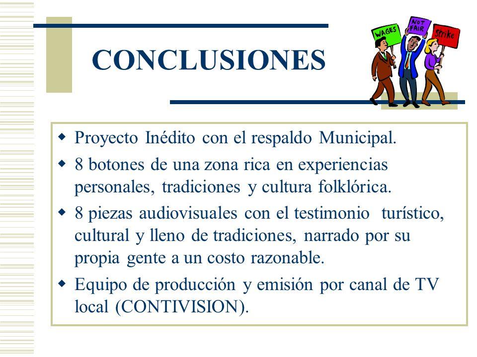 CONCLUSIONES Proyecto Inédito con el respaldo Municipal.