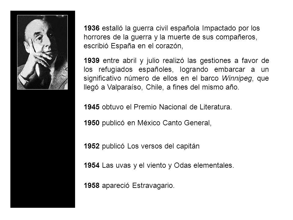 1936 estalló la guerra civil española Impactado por los horrores de la guerra y la muerte de sus compañeros, escribió España en el corazón,
