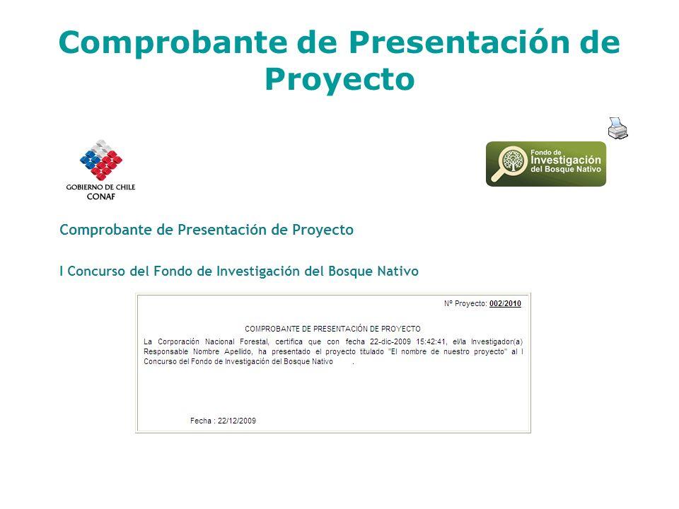 Comprobante de Presentación de Proyecto