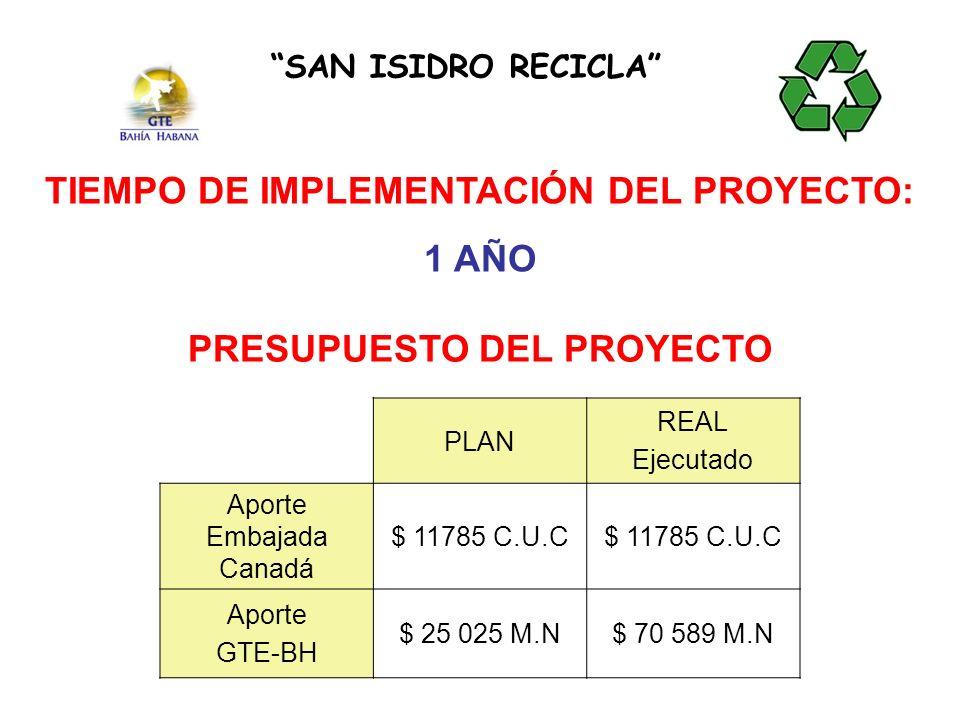 TIEMPO DE IMPLEMENTACIÓN DEL PROYECTO: PRESUPUESTO DEL PROYECTO