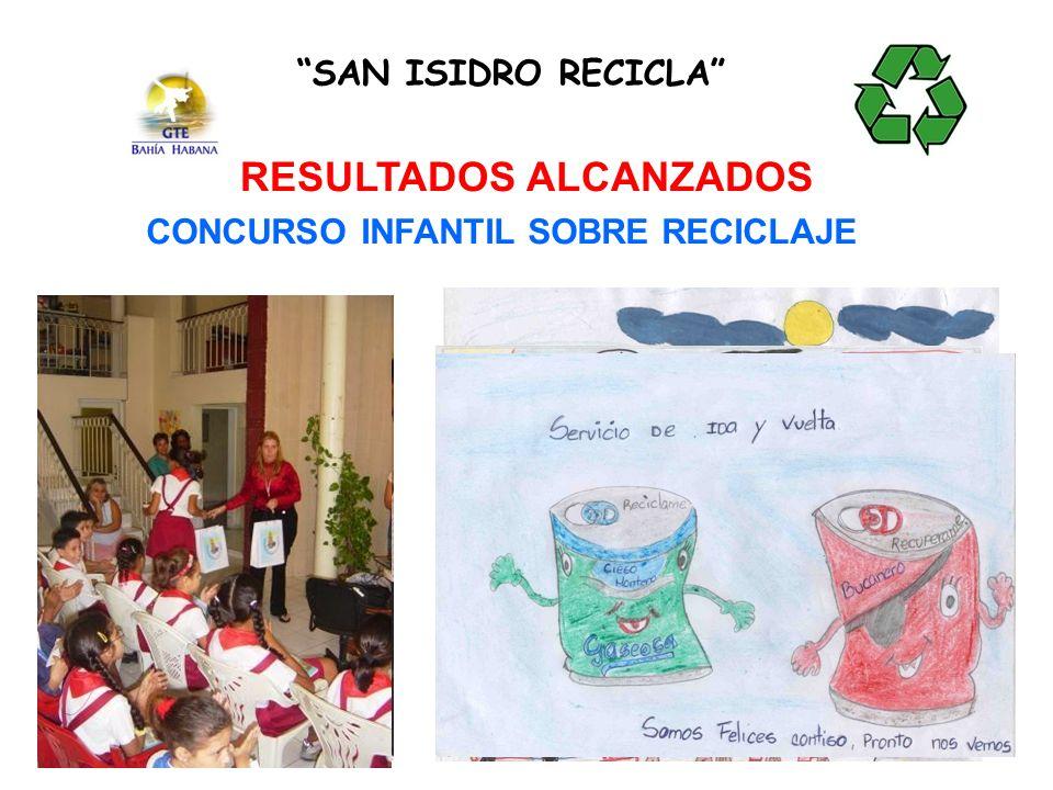 RESULTADOS ALCANZADOS CONCURSO INFANTIL SOBRE RECICLAJE