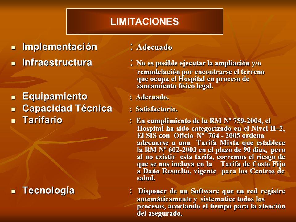 LIMITACIONES Implementación : Adecuado.