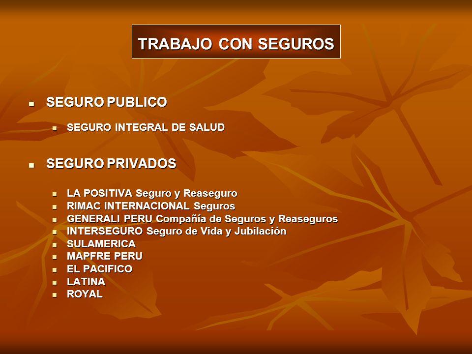 TRABAJO CON SEGUROS SEGURO PUBLICO SEGURO PRIVADOS