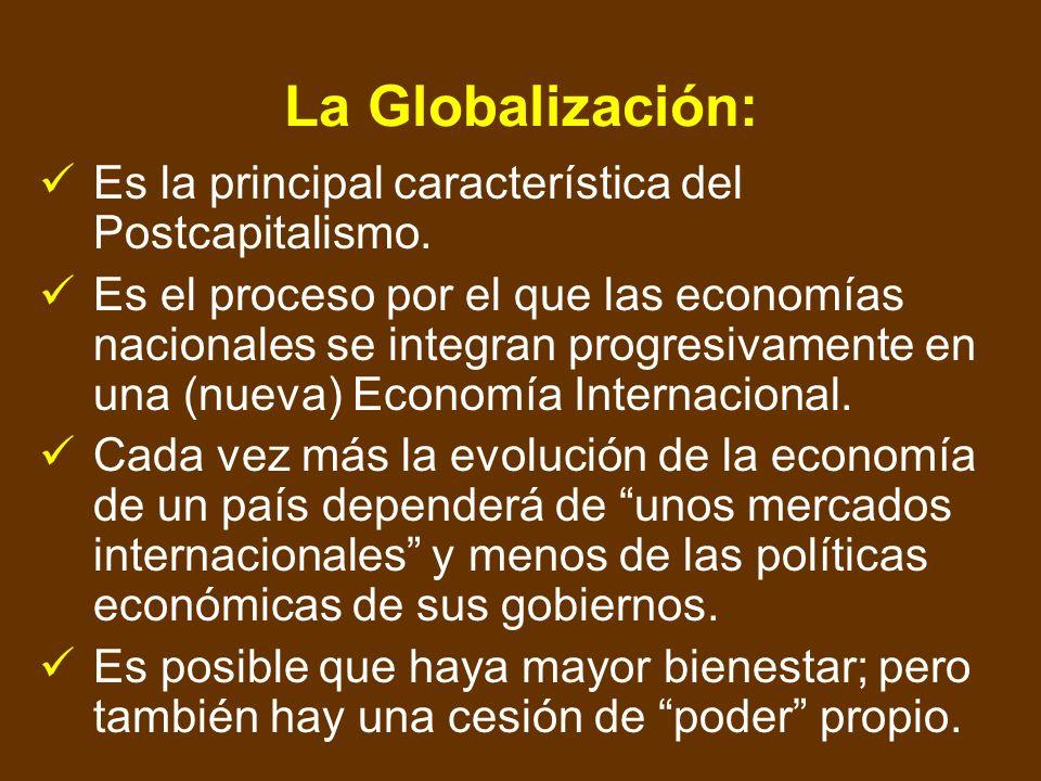 La Globalización: Es la principal característica del Postcapitalismo.