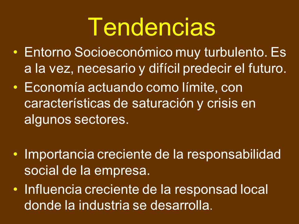 Tendencias Entorno Socioeconómico muy turbulento. Es a la vez, necesario y difícil predecir el futuro.