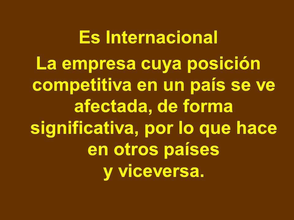 Es Internacional La empresa cuya posición competitiva en un país se ve afectada, de forma significativa, por lo que hace en otros países y viceversa.