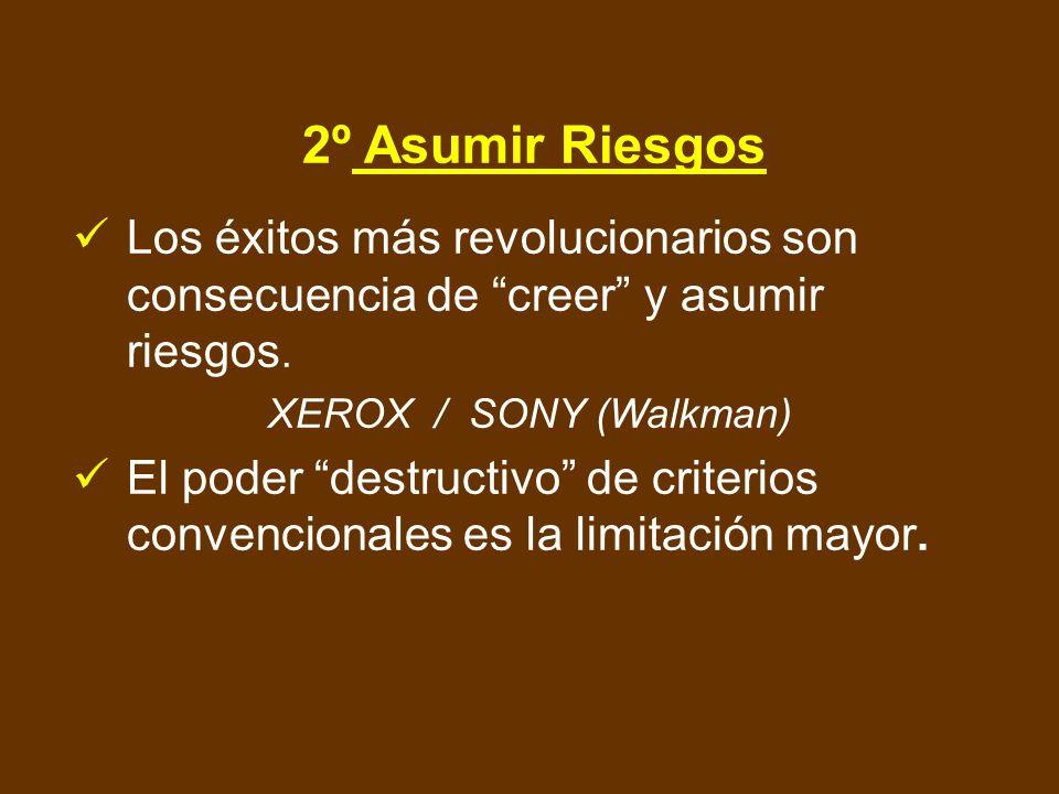 2º Asumir Riesgos Los éxitos más revolucionarios son consecuencia de creer y asumir riesgos. XEROX / SONY (Walkman)