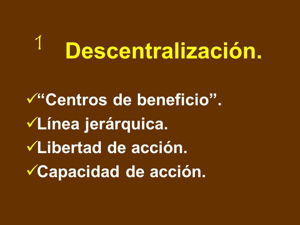 Descentralización. Centros de beneficio . Línea jerárquica.