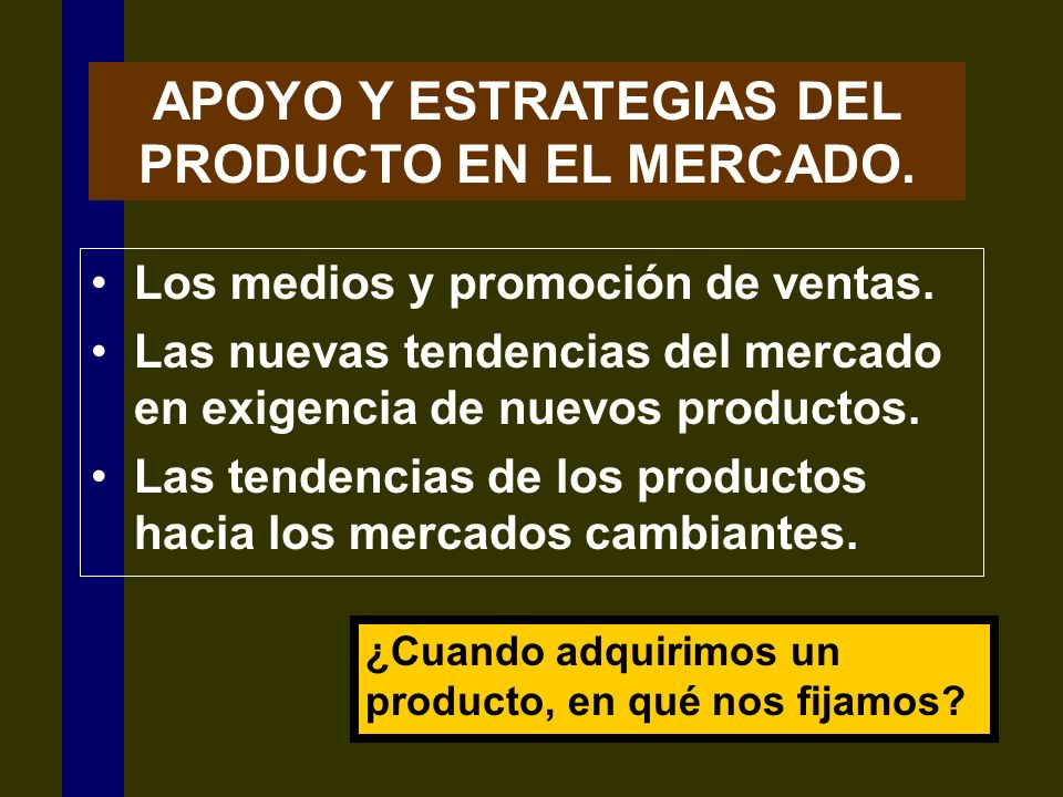 APOYO Y ESTRATEGIAS DEL PRODUCTO EN EL MERCADO.