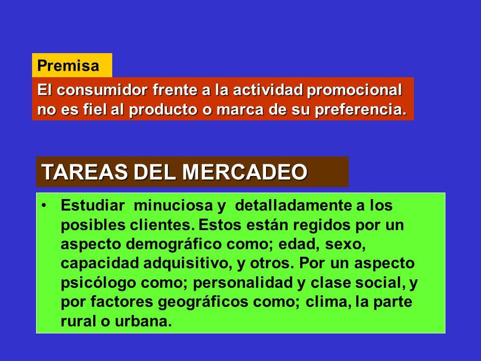 TAREAS DEL MERCADEO Premisa