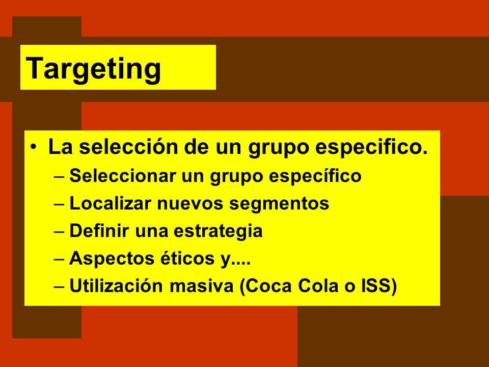 Targeting La selección de un grupo especifico.