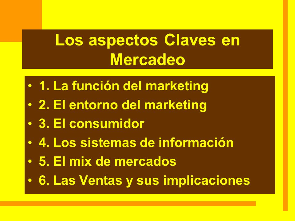 Los aspectos Claves en Mercadeo