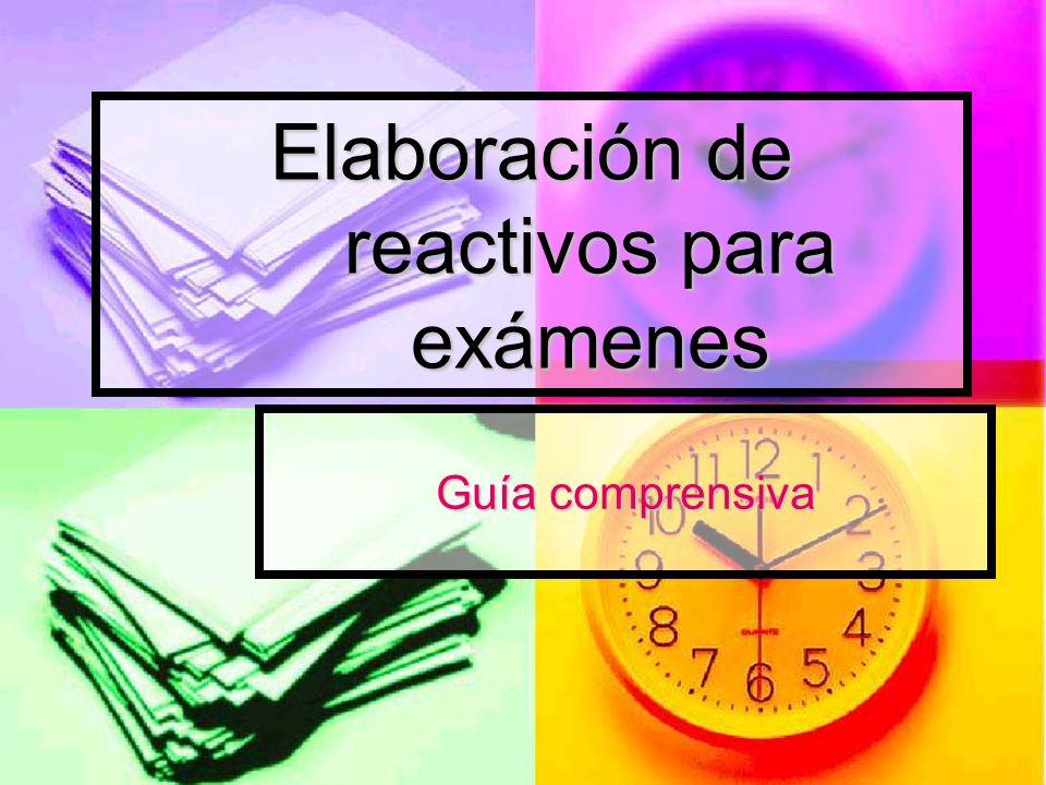 Elaboración de reactivos para exámenes